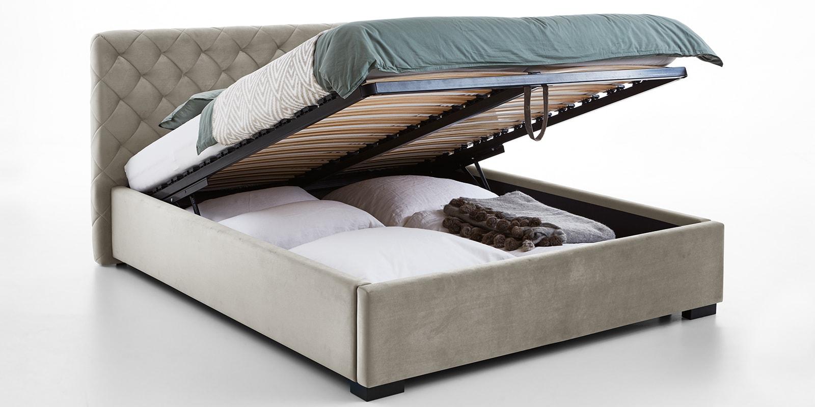 Moebella24 - Bett - mit - Bettkasten - Elsa - Samt - Altweiß - Stauraum - Versteppungen - am - Kopfteil