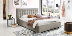 Moebella24 - Bett - mit - Bettkasten - Jimmy - Samt - Altweiß - Stauraum - Kopfteil - mit - Versteppungen - Von - vorne - links