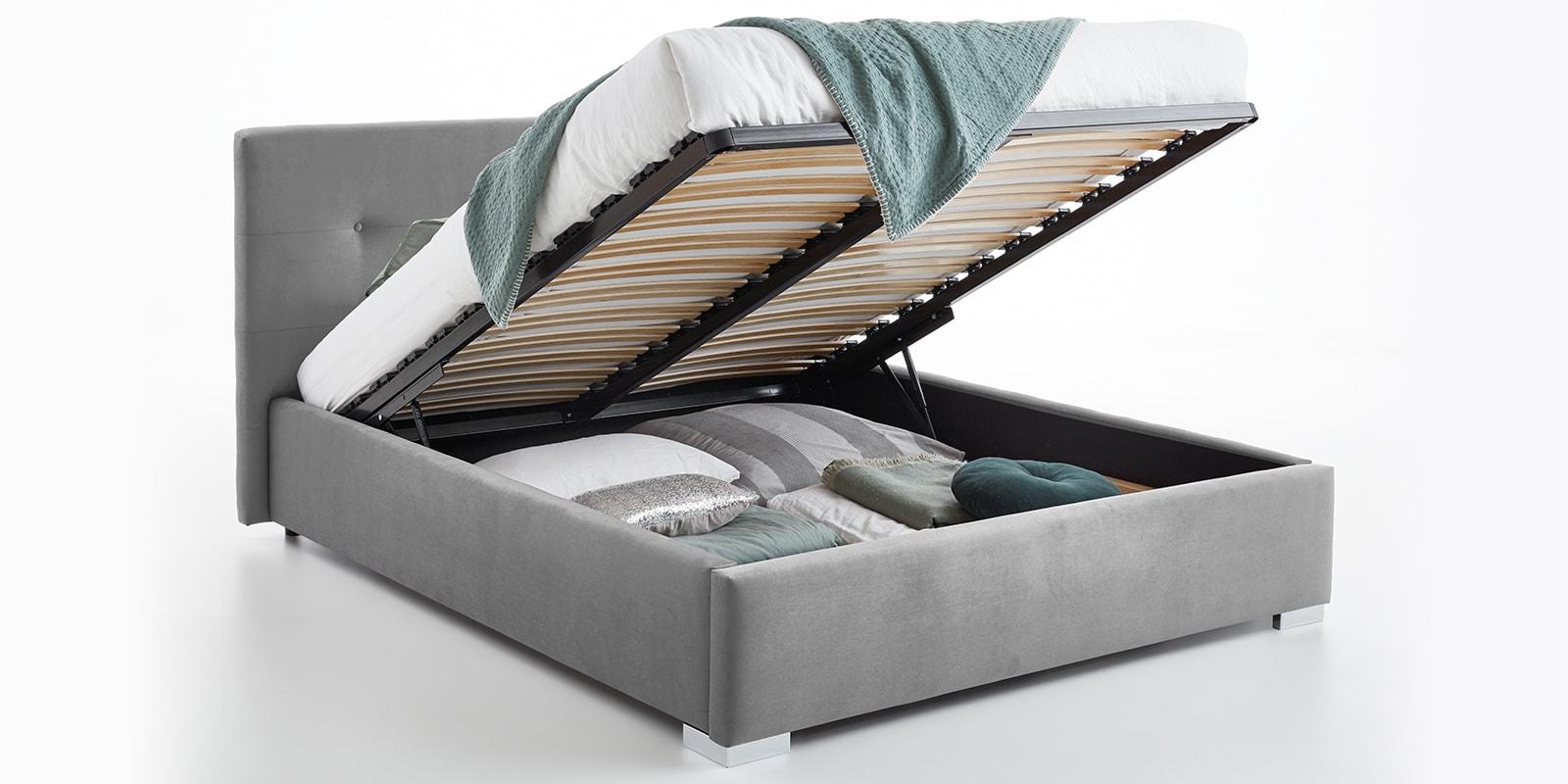 Moebella24 - Bett - mit - Bettkasten - Betty - Samt - Grau - Stauraum - Kopfteil - mit - Knopfheftung - Bettkasten - Geöffnet