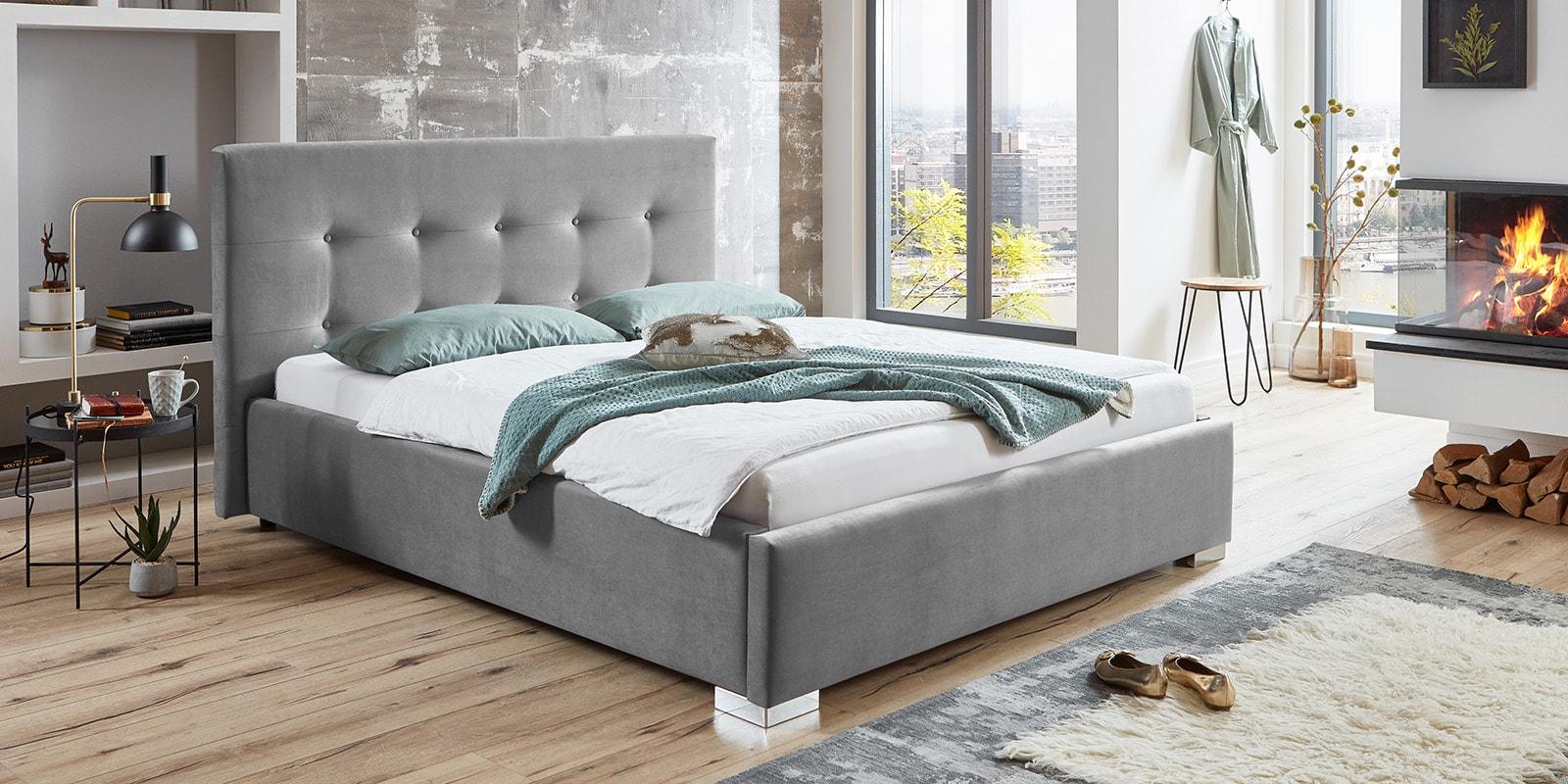 Moebella24 - Bett - mit - Bettkasten - Betty - Samt - Grau - Stauraum - Kopfteil - mit - Knopfheftung - Von - vorne - links