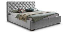 Moebella24 - Bett - mit - Bettkasten - Elsa - Samt - Grau - Stauraumbett - mit - Lattenrost - Polsterbett - Von vorne links