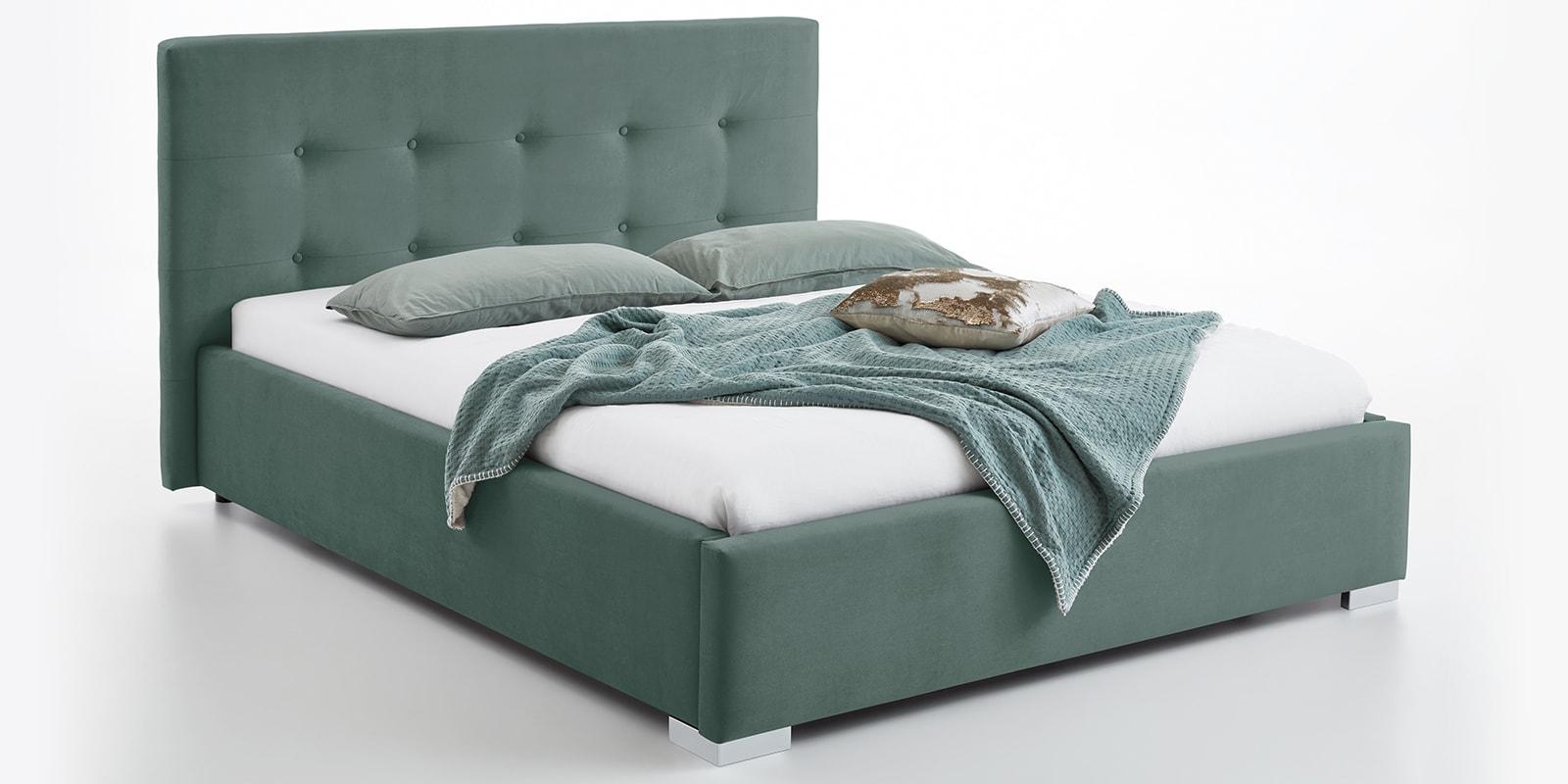 Moebella24 - Bett - mit - Bettkasten - Betty - Samt - Mint - Stauraum - Kopfteil - mit - Knopfheftung - Von - vorne - links