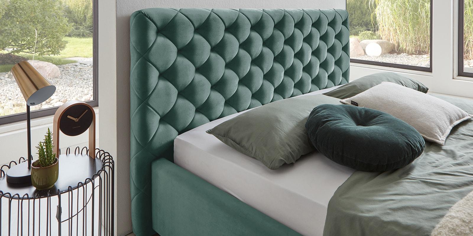 Moebella24 - Bett - mit - Bettkasten - Elsa - Samt - Mint - Stauraum - Versteppungen - am - Kopfteil