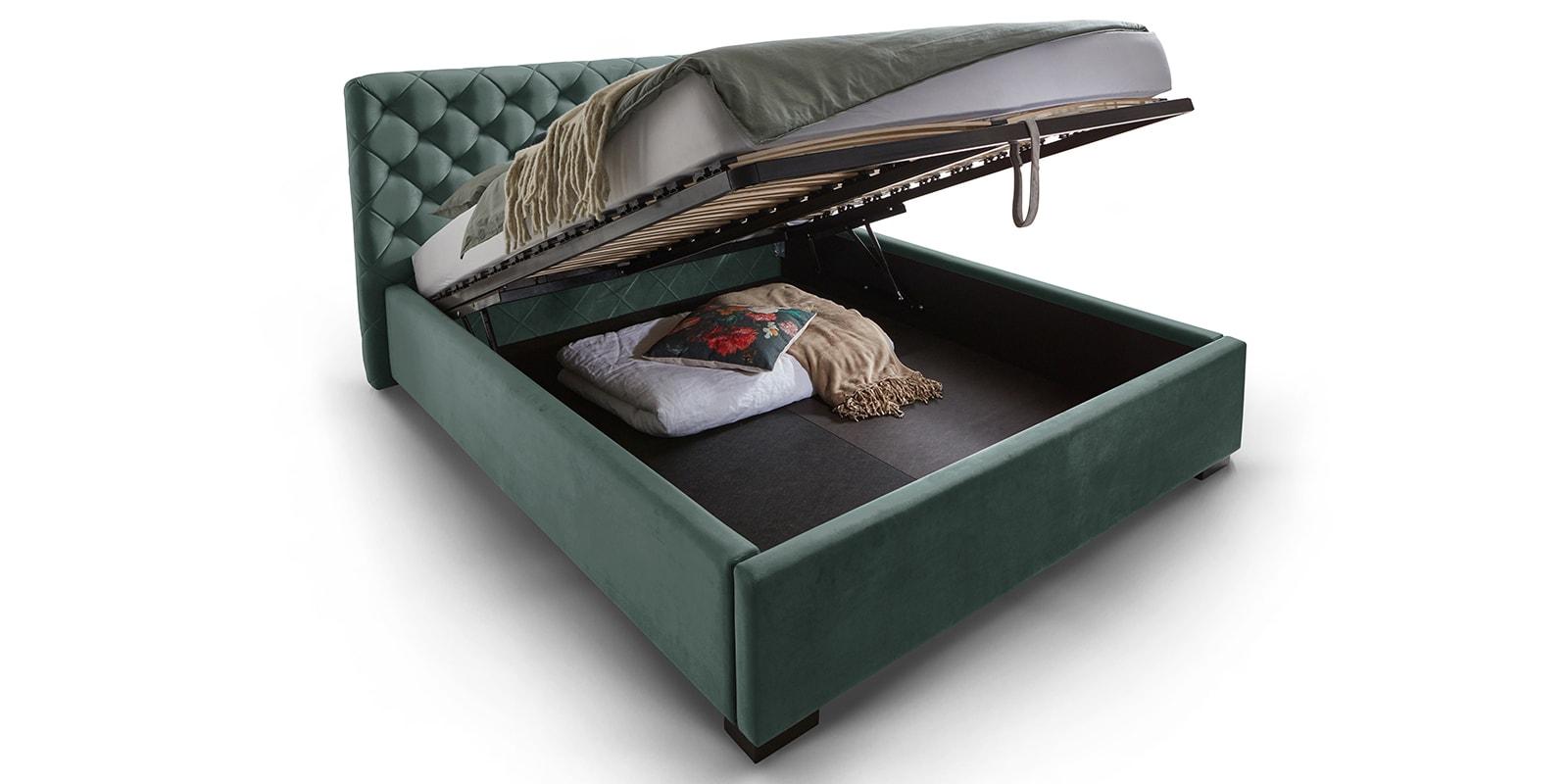Moebella24 - Bett - mit - Bettkasten - Elsa - Samt - Mint - Stauraum - Lattenrost - mit - Metallrahmen - Polsterbett - Hochklappbar - Verstärkte Dämpfer - Von vorne links