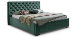 Moebella24 - Bett - mit - Bettkasten - Elsa - Samt - Mint - Stauraumbett - mit - Lattenrost - Polsterbett - Von vorne links