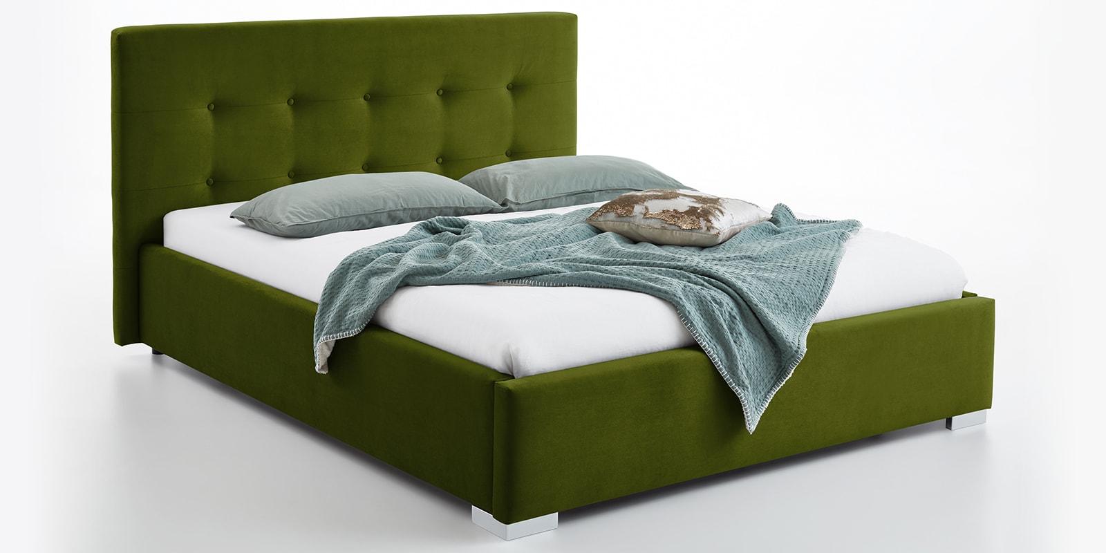 Moebella24 - Bett - mit - Bettkasten - Betty - Samt - Oliv - Stauraum - Kopfteil - mit - Knopfheftung- Bettkasten - Von - vorne - links