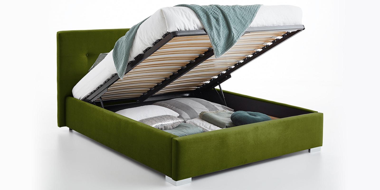Moebella24 - Bett - mit - Bettkasten - Betty - Samt - Oliv - Stauraum - Kopfteil - mit - Knopfheftung- Bettkasten - Geöffnet