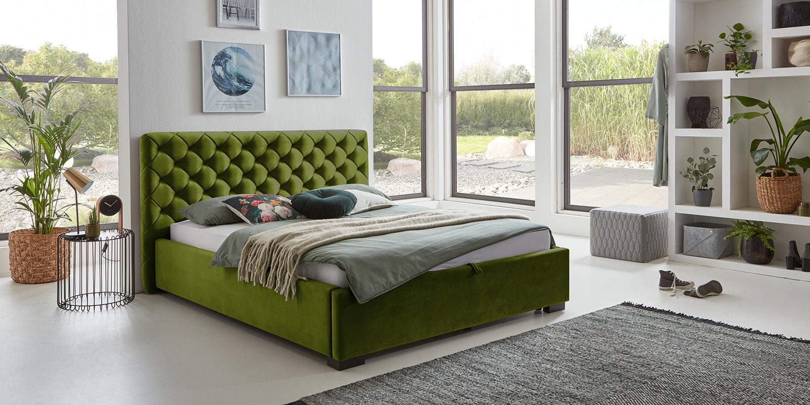 Moebella24 - Bett - mit - Bettkasten - Elsa - Samt - Oliv - Stauraum - Versteppungen - am - Kopfteil