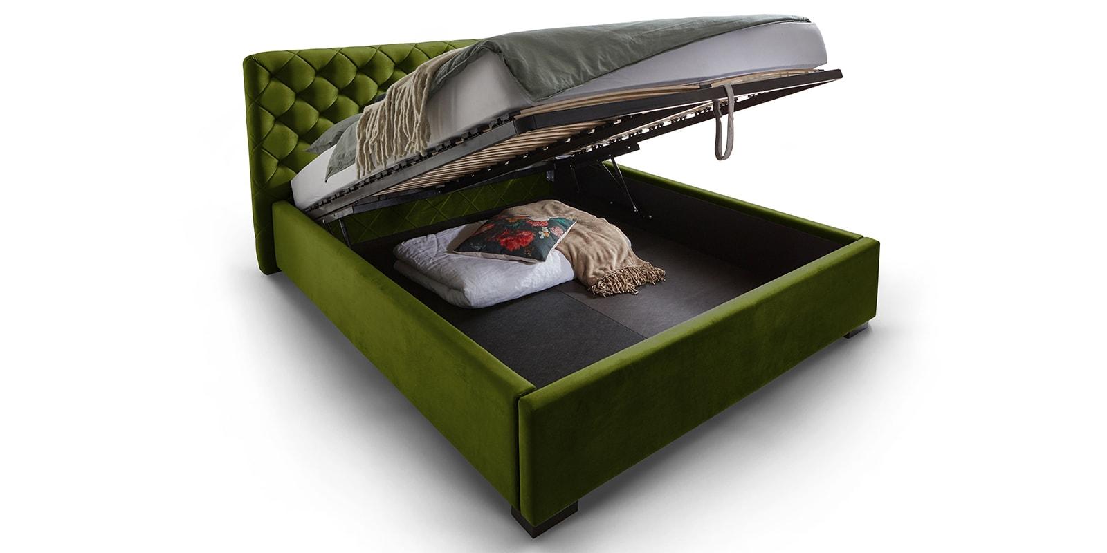 Moebella24 - Bett - mit - Bettkasten - Elsa - Samt - Oliv - Stauraum - Lattenrost - mit - Metallrahmen - Polsterbett - Hochklappbar - Verstärkte Dämpfer - Von vorne links