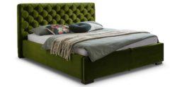 Moebella24 - Bett - mit - Bettkasten - Elsa - Samt - Olive - Stauraumbett - mit - Lattenrost - Polsterbett - Von vorne links