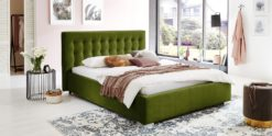 Moebella24 - Bett - mit - Bettkasten - Jimmy - Samt - Oliv - Stauraum - Kopfteil - mit - Versteppungen - Von - vorne - links