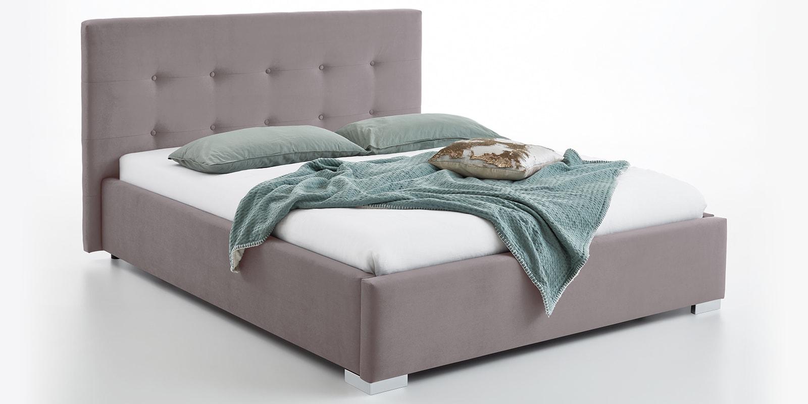 Moebella24 - Bett - mit - Bettkasten - Betty - Samt - Rose - Stauraum - Kopfteil - mit - Knopfheftung- Bettkasten - Von - vorne - links