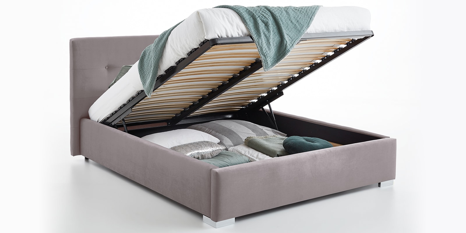 Moebella24 - Bett - mit - Bettkasten - Betty - Samt - Rose - Stauraum - Kopfteil - mit - Knopfheftung- Bettkasten - Geöffnet - Von - vorne - links