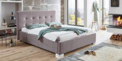 Moebella24 - Bett - mit - Bettkasten - Betty - Samt - Smaragd - Stauraum - Kopfteil - mit - Knopfheftung- Bettkasten - Moebella24 - Bett - mit - Bettkasten - Betty - Samt - Rose - Stauraum - Kopfteil - mit - Knopfheftung- Bettkasten - Geöffnet - Von - vorne - links