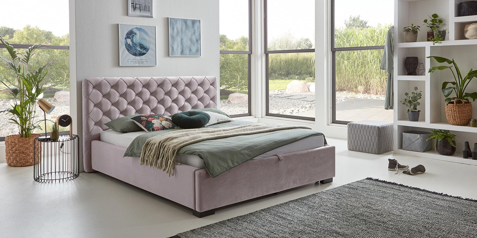 Moebella24 - Bett - mit - Bettkasten - Elsa - Samt - Rose - Stauraum - Versteppungen - am - Kopfteil