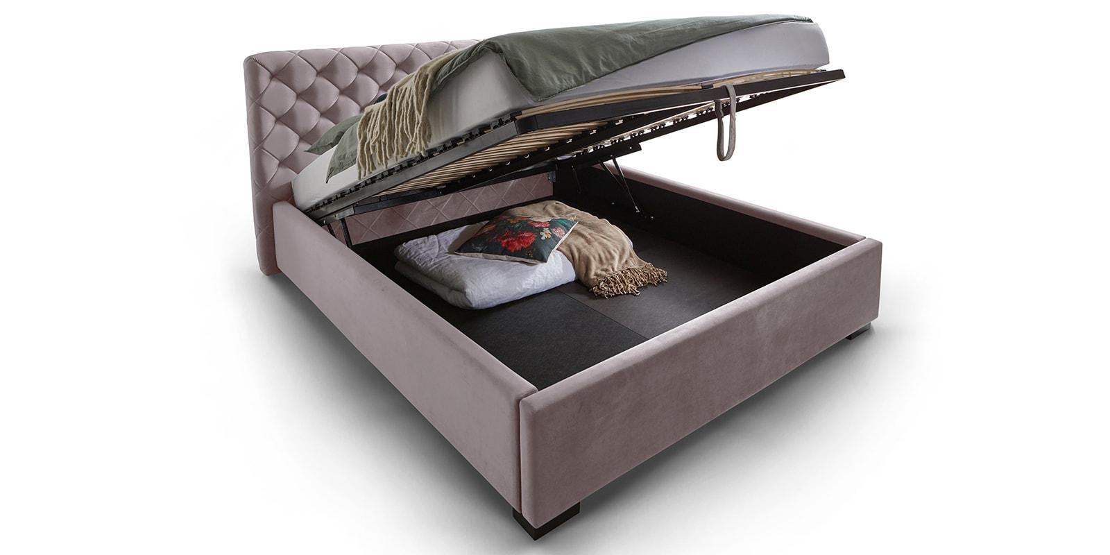 Moebella24 - Bett - mit - Bettkasten - Elsa - Samt - Rose - Stauraum - Lattenrost - mit - Metallrahmen - Polsterbett - Hochklappbar - Verstärkte Dämpfer - Von vorne links
