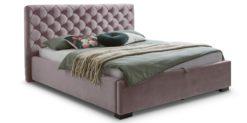 Moebella24 - Bett - mit - Bettkasten - Elsa - Samt - Rose - Stauraumbett - mit - Lattenrost - Polsterbett - Von vorne links