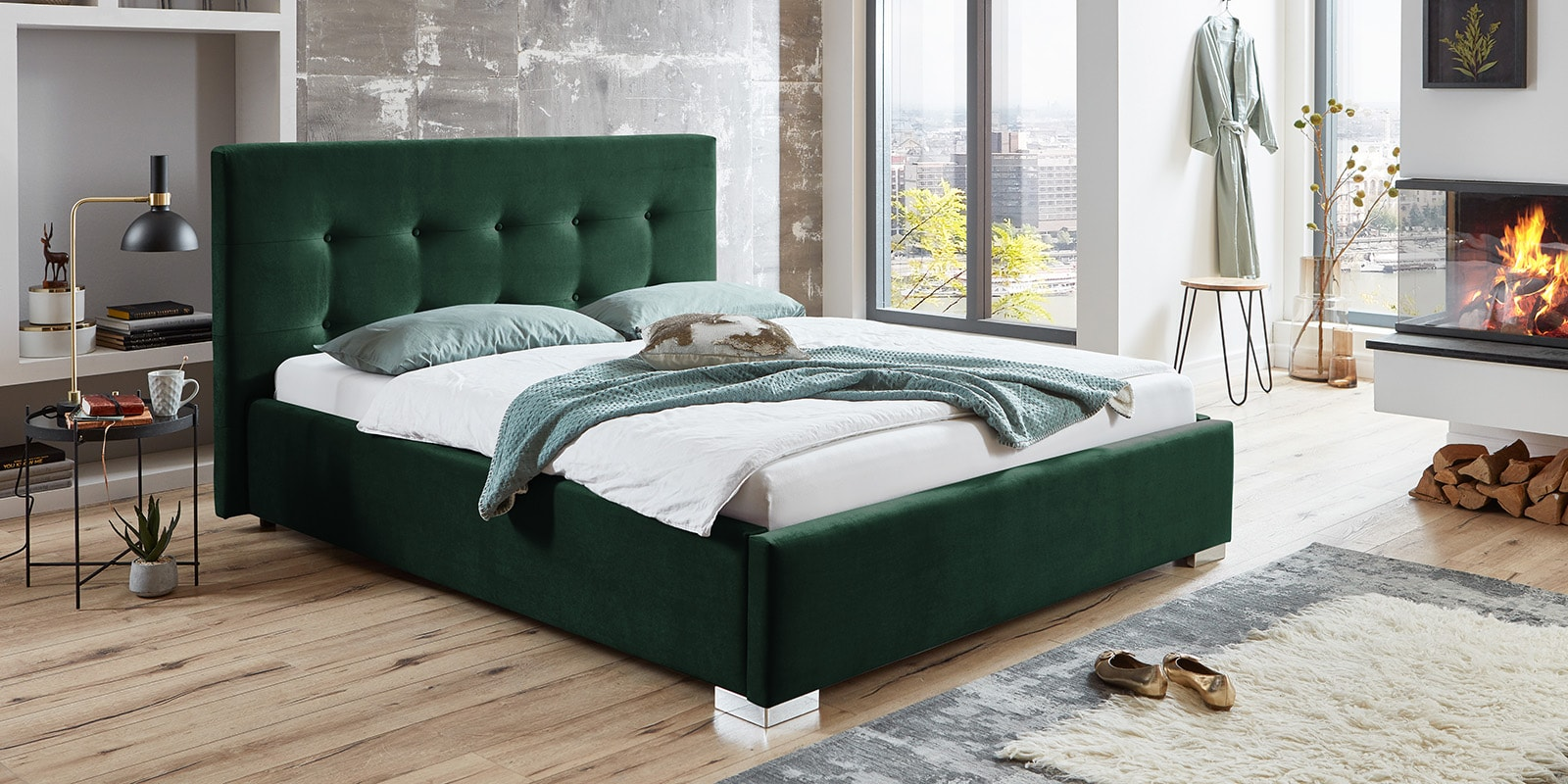 Moebella24 - Bett - mit - Bettkasten - Betty - Samt - Smaragd - Stauraum - Kopfteil - mit - Knopfheftung- Von - vorne - links