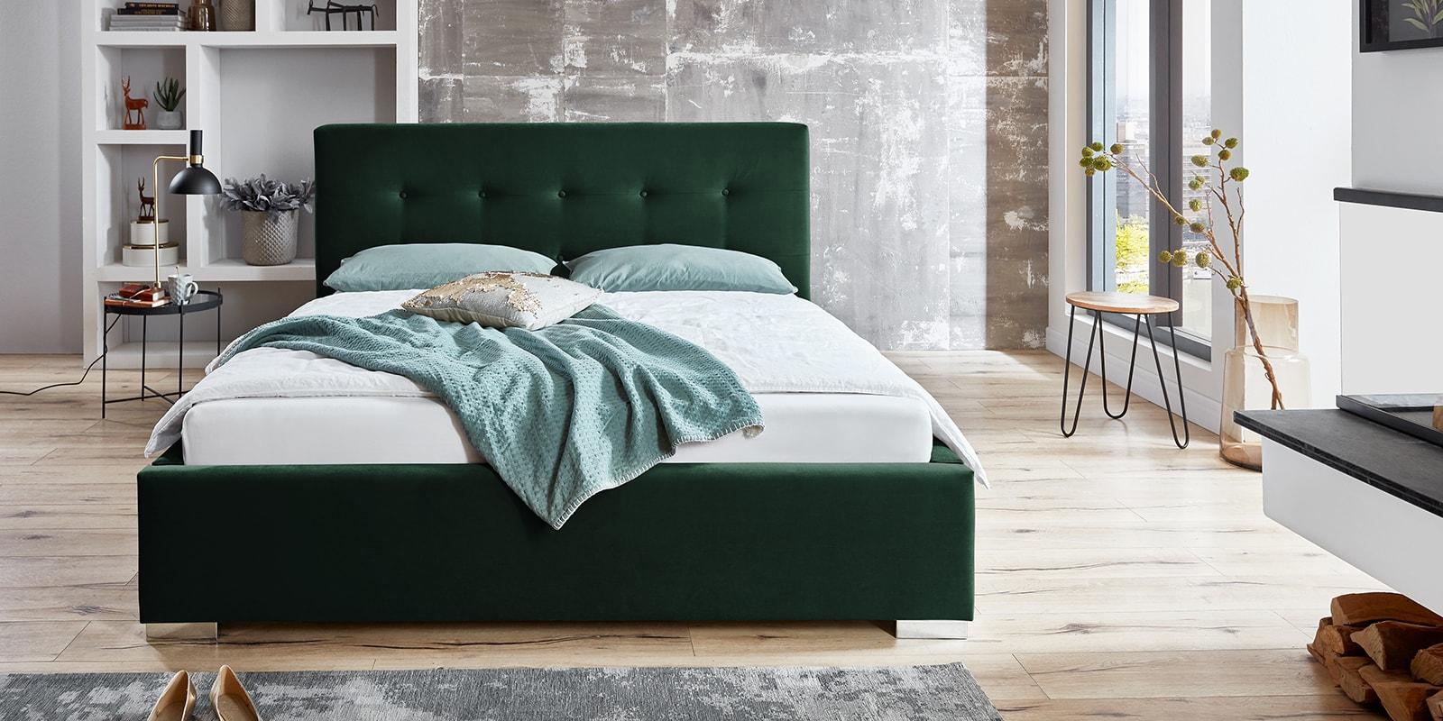 Moebella24 - Bett - mit - Bettkasten - Betty - Samt - Smaragd - Stauraum - Kopfteil - mit - Knopfheftung - Frontal