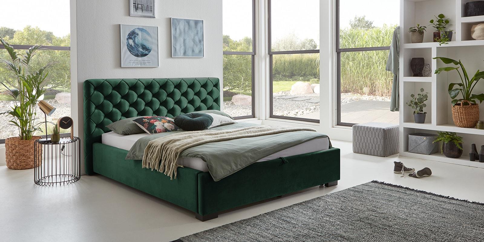 Moebella24 - Bett - mit - Bettkasten - Elsa - Samt - Smaragd - Stauraum - Versteppungen - am - Kopfteil