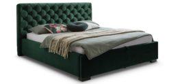 Moebella24 - Bett - mit - Bettkasten - Elsa - Samt - Smaragd - Stauraumbett - mit - Lattenrost - Polsterbett - Von vorne links