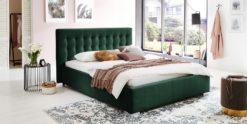 Moebella24 - Bett - mit - Bettkasten - Jimmy - Samt - Smaragd - Stauraum - Kopfteil - mit - Versteppungen - Von - vorne - links