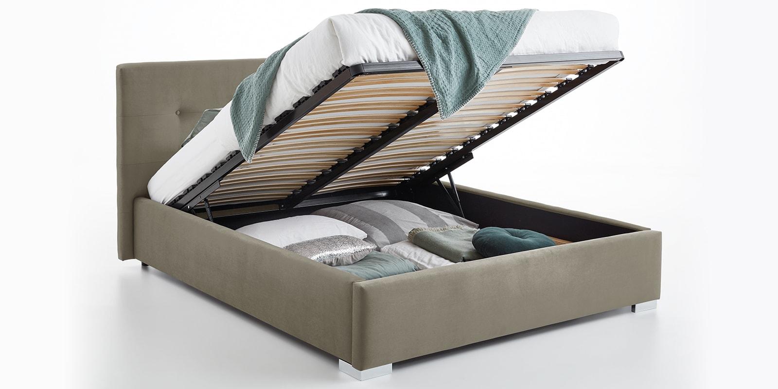 Moebella24 - Bett - mit - Bettkasten - Betty - Samt - Taupe - Stauraum - Kopfteil - mit - Knopfheftung- Bettkasten - Geöffnet