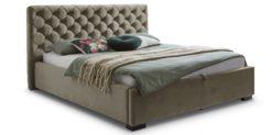 Moebella24 - Bett - mit - Bettkasten - Elsa - Samt - Taupe - Stauraumbett - mit - Lattenrost - Polsterbett - Von vorne links