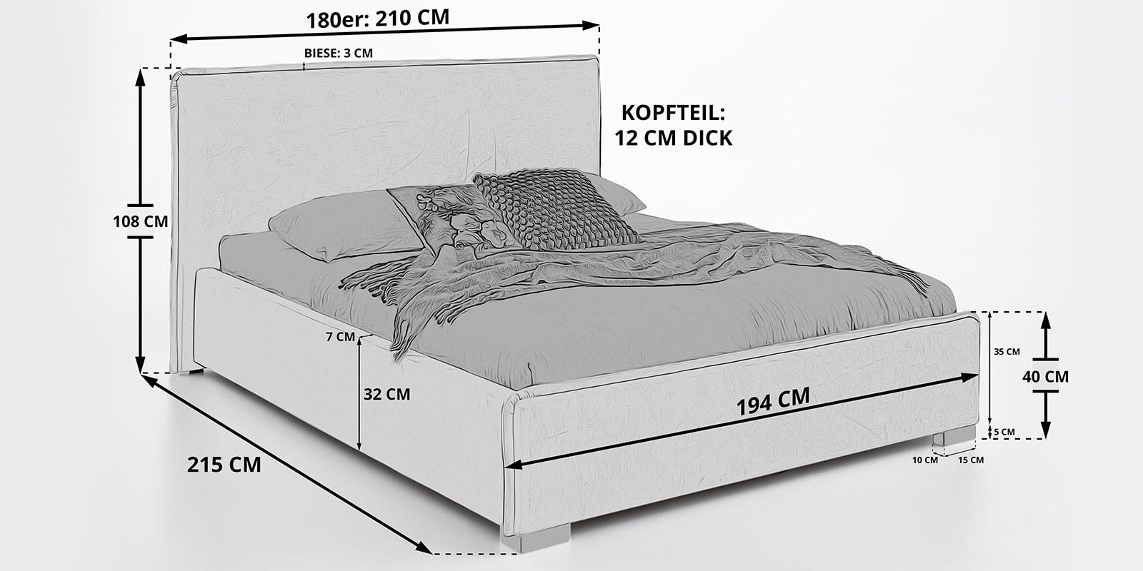 Moebella24 - Bett - mit - Bettkasten - Sofia - Skizze - Maße - 180er - Samt - Stauraum - Polsterbett - Von - vorne - links