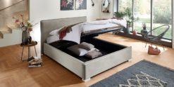 Moebella24 - Bett - mit - Bettkasten - Sofia - Samt - Altweiß - Stauraum - Kopfteil - Bettkasten - Geöffnet - Von - vorne - links
