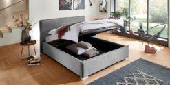 Moebella24 - Bett - mit - Bettkasten - Sofia - Samt - Grau - Stauraum - Kopfteil - Bettkasten - Geöffnet - Von - vorne - links