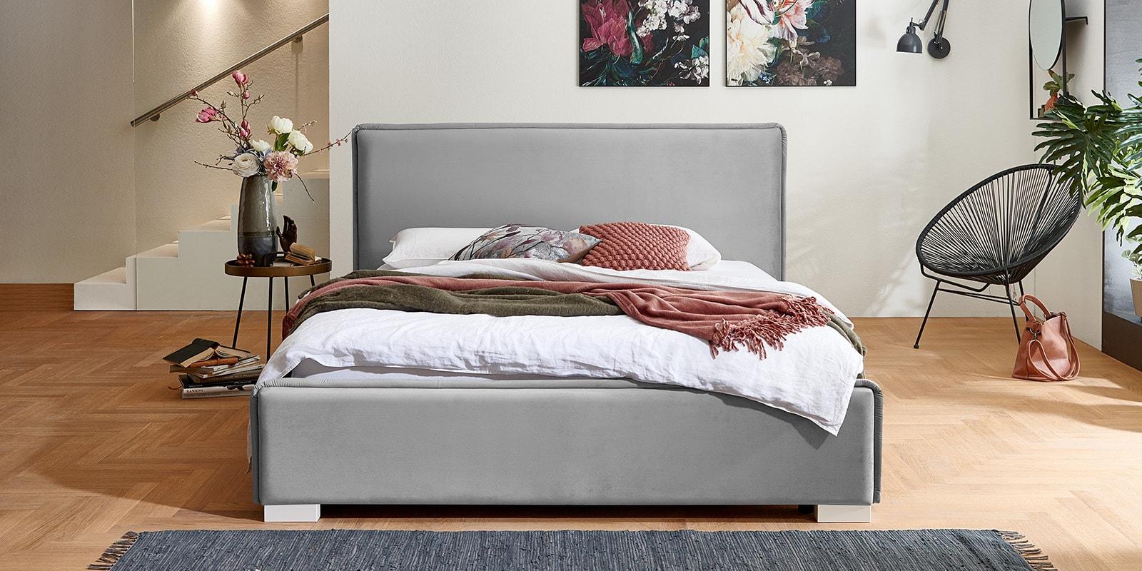 Moebella24 - Bett - mit - Bettkasten - Sofia - Samt - Grau - Stauraum - Kopfteil - Frontal