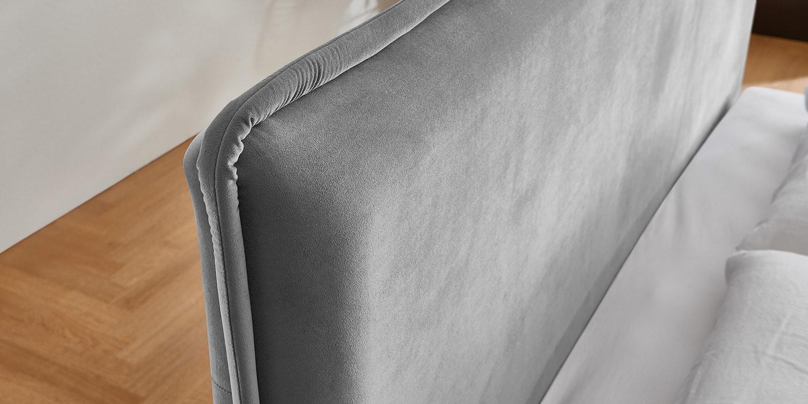 Moebella24 - Bett - mit - Bettkasten - Sofia - Samt - Grau - Stauraum - Kopfteil - Detailaufnahme
