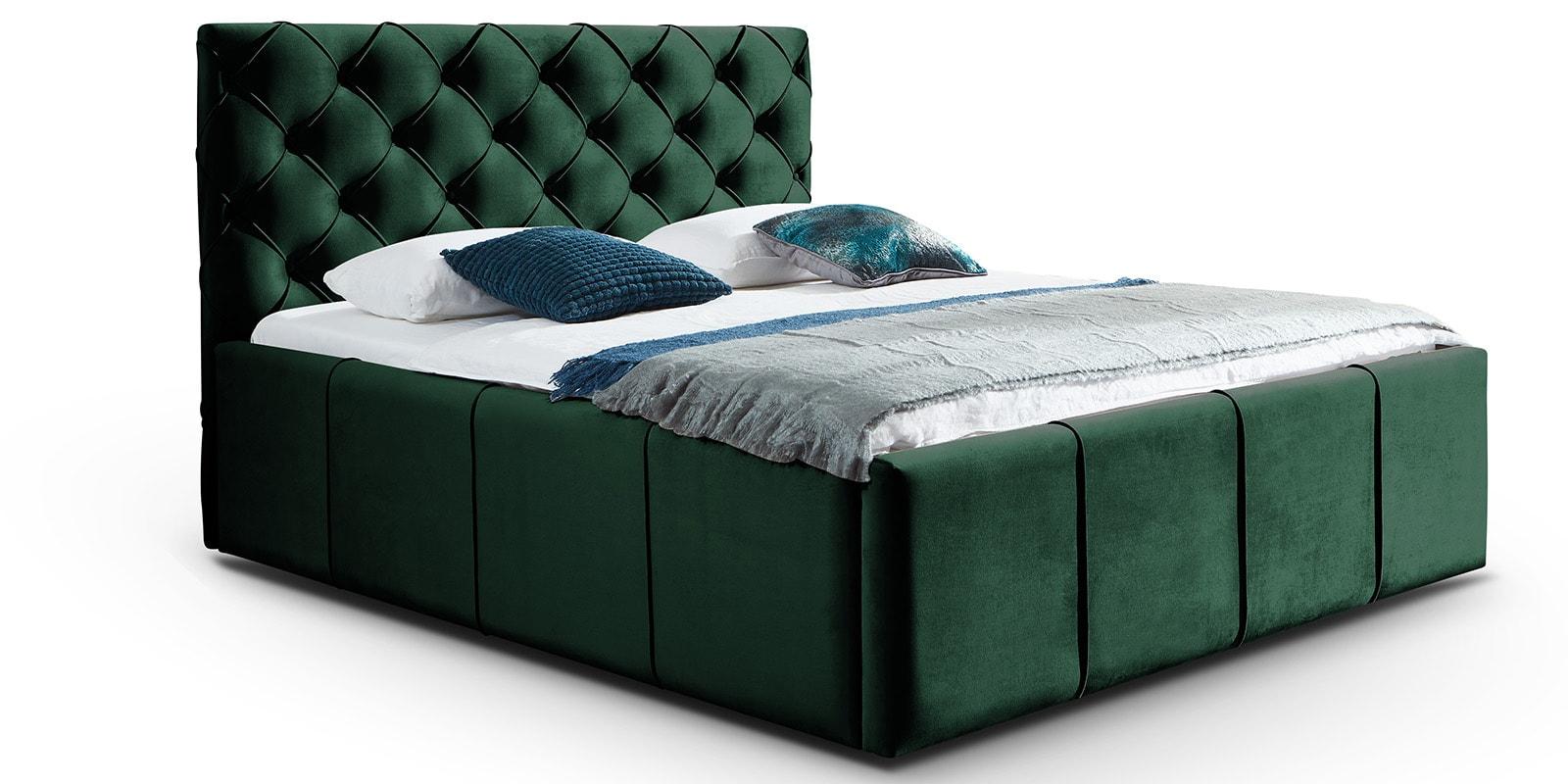 Moebella24 - Bett - mit - Bettkasten - Nelly - Samt - Smaragd - XXL-Stauraum - Kopfteil - und - Korpus - mit - Keder -Detailaufnahme - Von - vorne - links