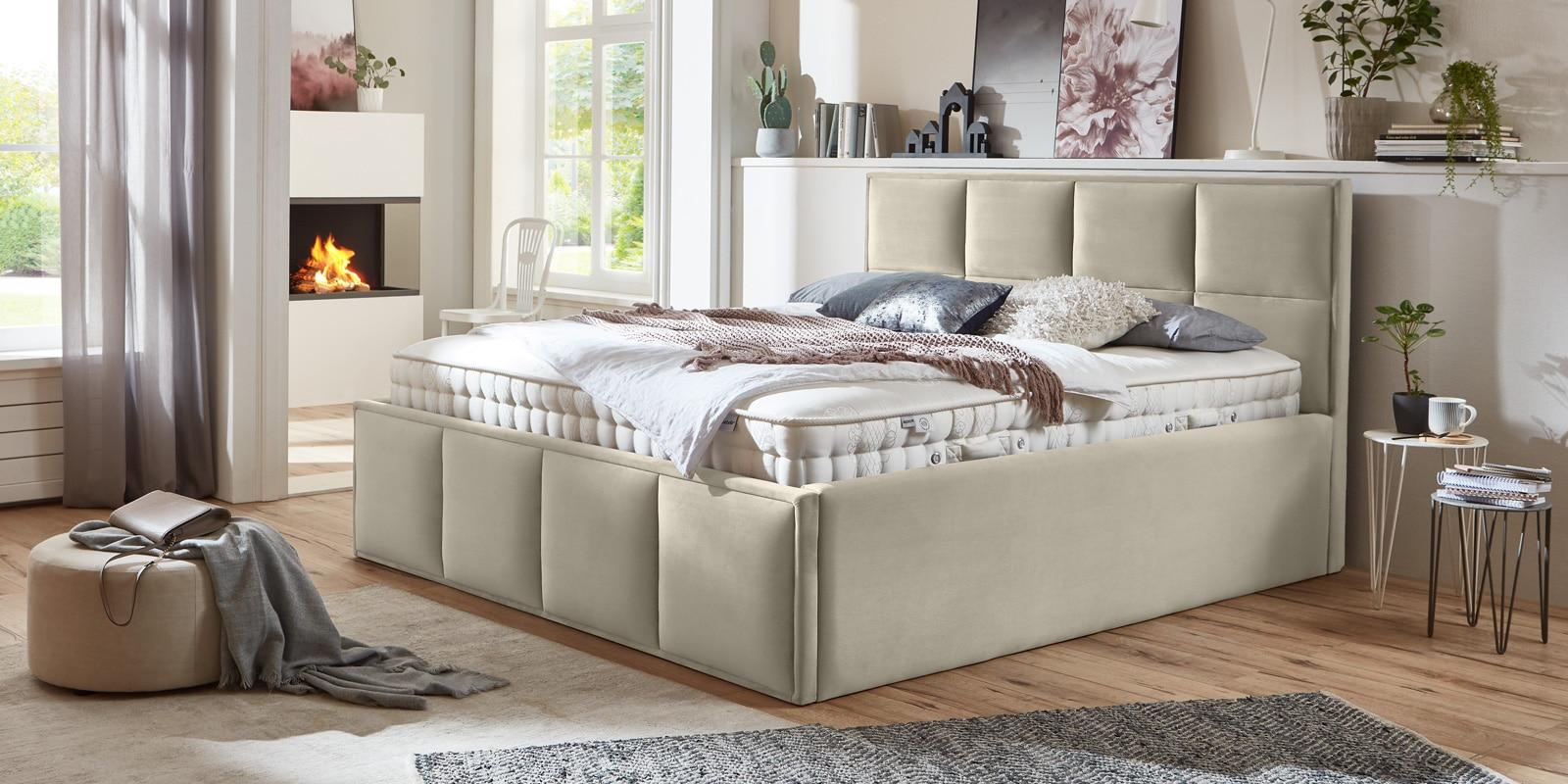 Bett mit Bettkasten Neptun XXL Samt altweiß Stauraumbett Queransicht