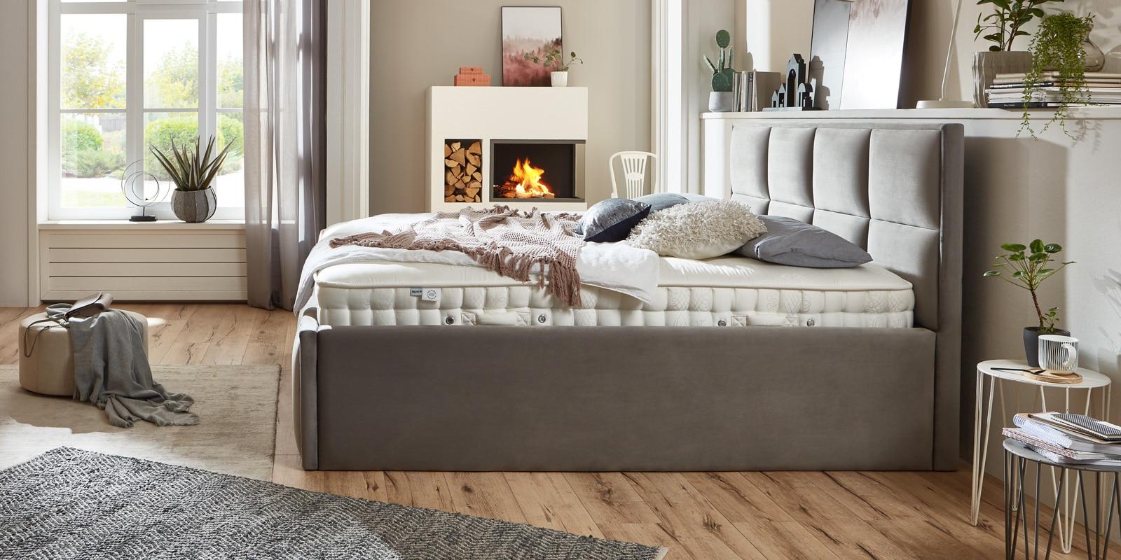 Bett mit Bettkasten Neptun XXL Samt grau Stauraumbett Seitenansicht