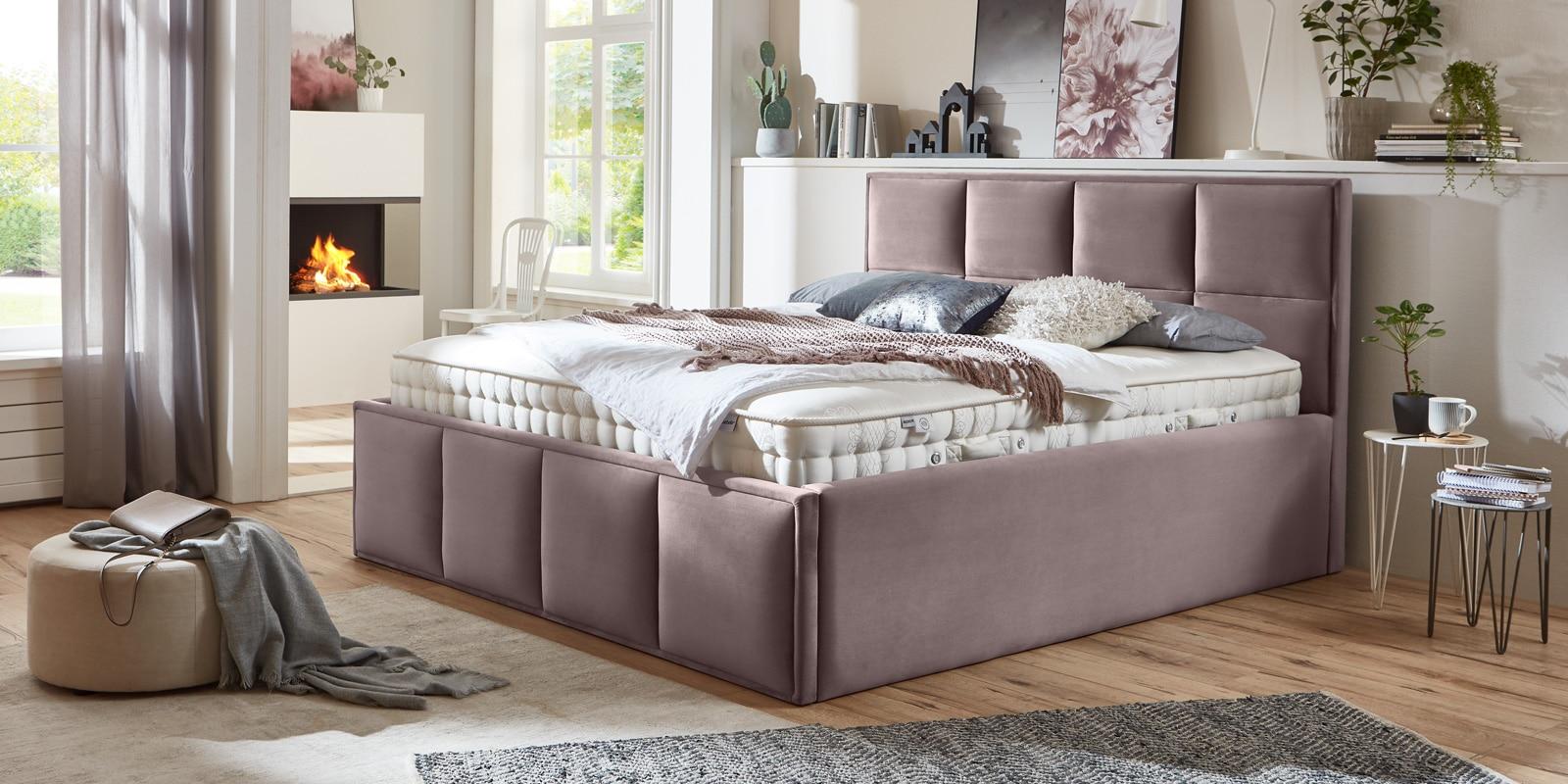 Bett mit Bettkasten Neptun XXL Samt rose Stauraumbett Queransicht