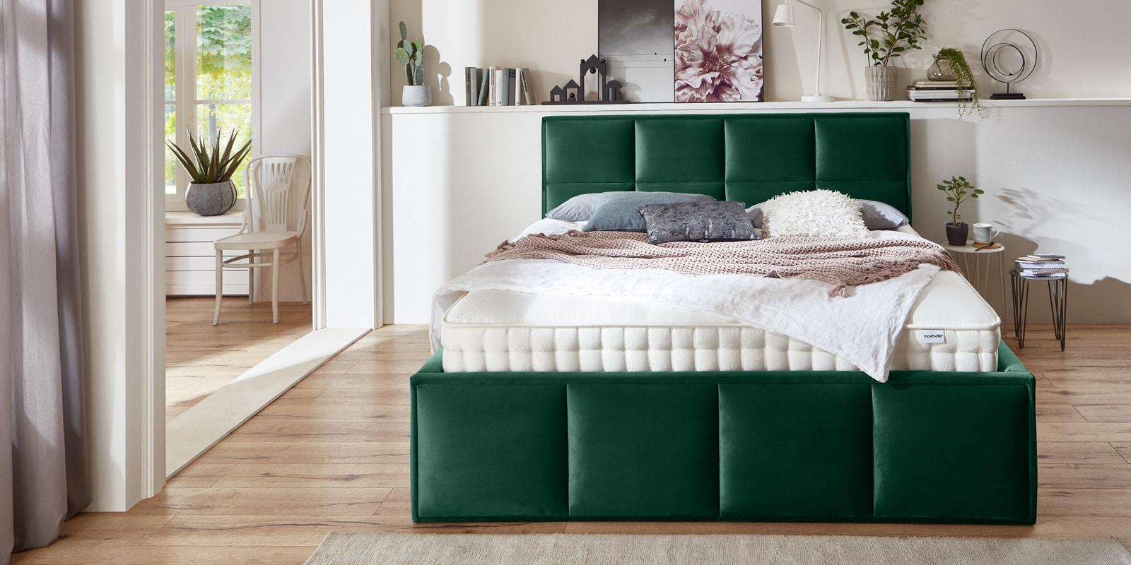 Bett mit Bettkasten Neptun XXL Samt smaragd Stauraumbett Frontansicht