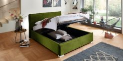 Moebella24 - Bett - mit - Bettkasten - Sofia - Samt - Oliv - Stauraum - Kopfteil - Bettkasten - Geöffnet - Von - vorne - links