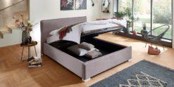Moebella24 - Bett - mit - Bettkasten - Sofia - Samt - Rose - Stauraum - Kopfteil - Bettkasten - Geöffnet - Von - vorne - links