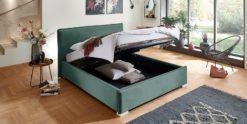 Moebella24 - Bett - mit - Bettkasten - Sofia - Samt - Mint - Stauraum - Kopfteil - Bettkasten - Geöffnet - Von - vorne - links