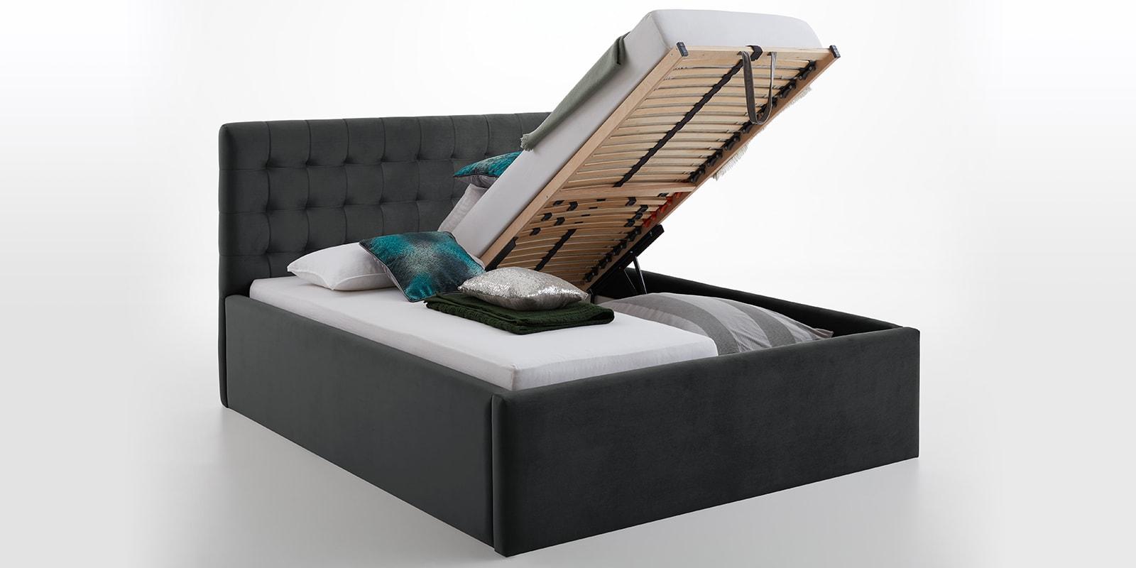 Moebella24 - Bett - mit - Bettkasten - Molly - Smaragd - Anthrazit - XXL-Bettkasten - Bettkasten - und - Lattenrost - vormontiert - Kopfteil - mit - Steppungen