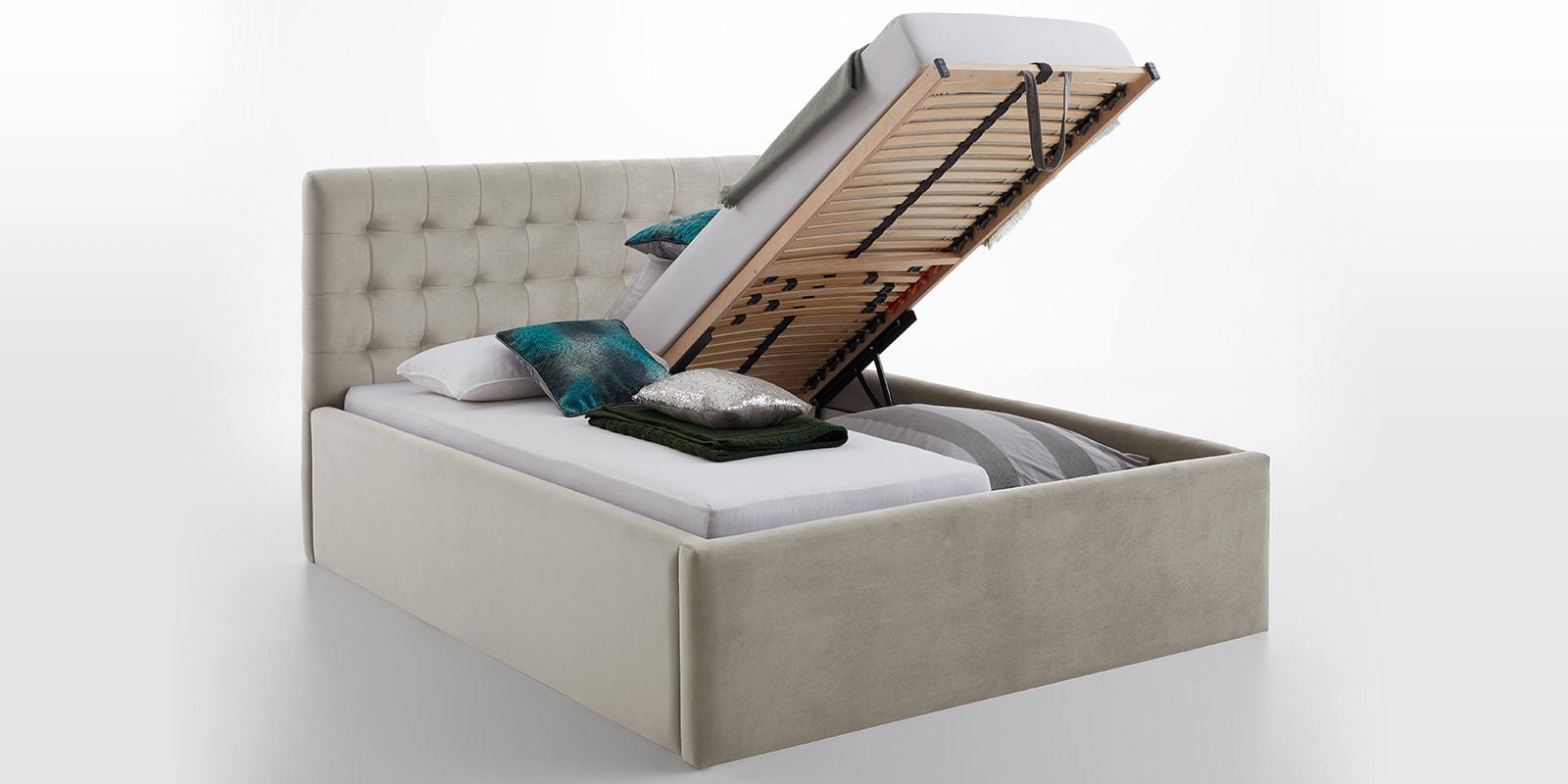 Moebella24 - Bett - mit - Bettkasten - Molly - Smaragd - Altweiß - XXL-Bettkasten - Bettkasten - und - Lattenrost - vormontiert - Kopfteil - mit - Steppungen