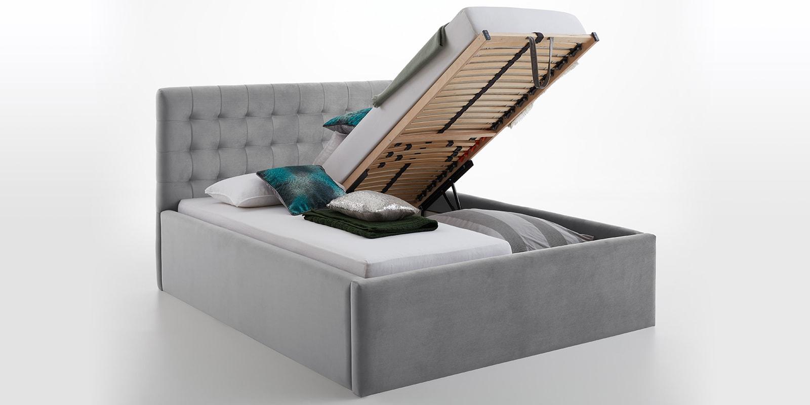 Moebella24 - Bett - mit - Bettkasten - Molly - Smaragd - Grau - XXL-Bettkasten - Bettkasten - und - Lattenrost - vormontiert - Kopfteil - mit - Steppungen
