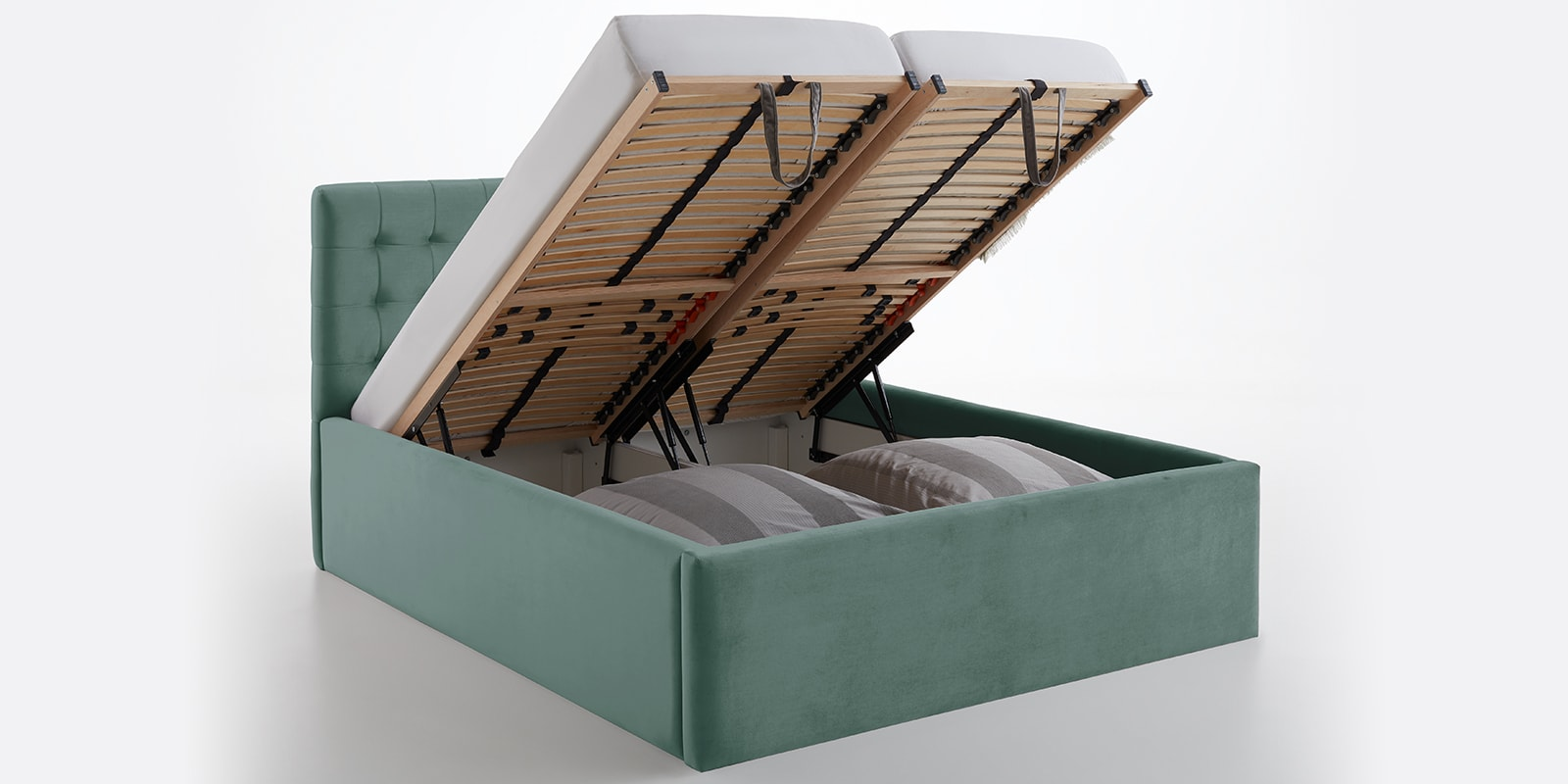 Moebella24 - Bett - mit - Bettkasten - Molly - Smaragd - Mint - XXL-Bettkasten - Bettkasten - und - Lattenrost - vormontiert - Kopfteil - mit - Steppungen