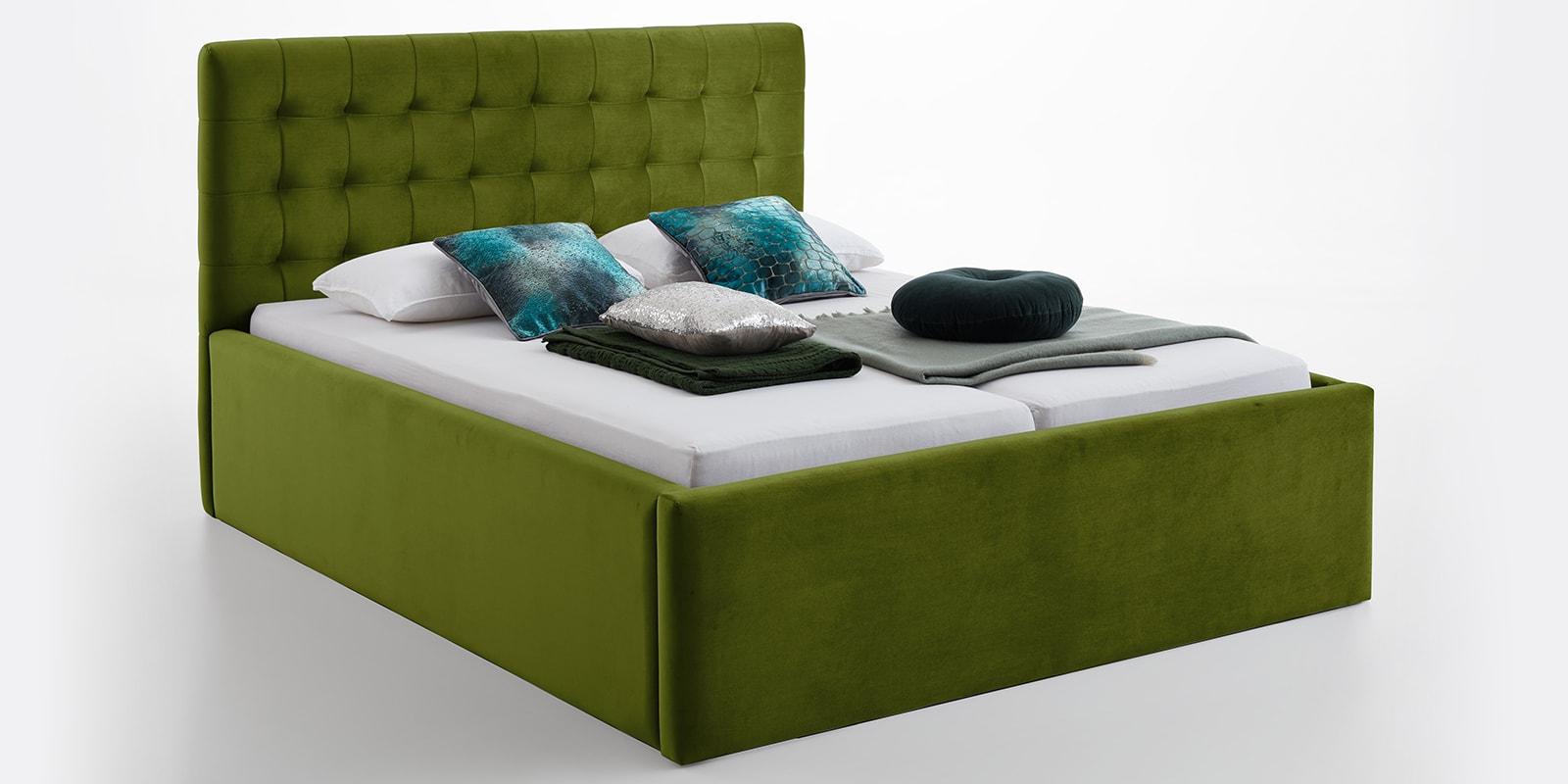 Moebella24 - Bett - mit - Bettkasten - Molly - Smaragd - Oliv - XXL-Bettkasten - Bettkasten - und - Lattenrost - vormontiert - Kopfteil - mit - Steppungen