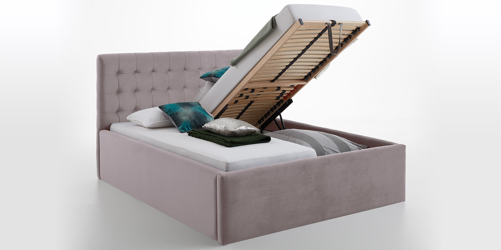 Moebella24 - Bett - mit - Bettkasten - Molly - Smaragd - Rose - XXL-Bettkasten - Bettkasten - und - Lattenrost - vormontiert - Kopfteil - mit - Steppungen