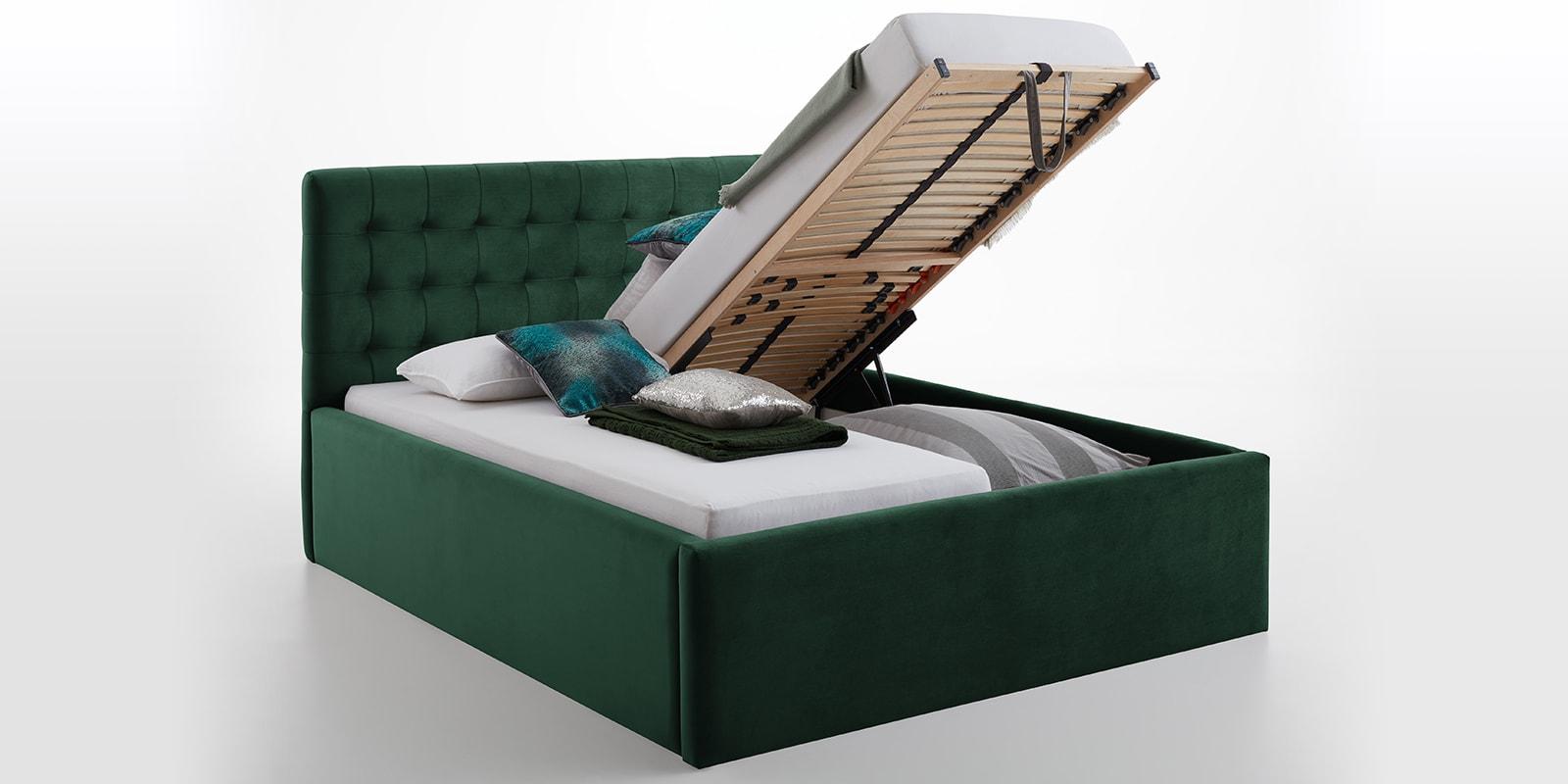 Moebella24 - Bett - mit - Bettkasten - Molly - Smaragd - Taupe - XXL-Bettkasten - Bettkasten - und - Lattenrost - vormontiert - Kopfteil - mit - Steppungen