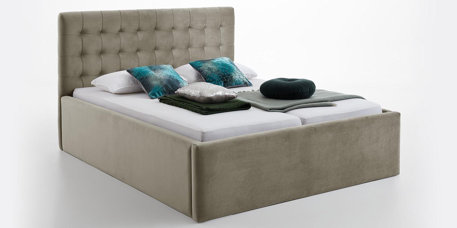 Moebella24 - Bett - mit - Bettkasten - Molly - Samt - Taupe - XXL-Bettkasten - Bettkasten - und - Lattenrost - vormontiert - Kopfteil - mit - Steppungen