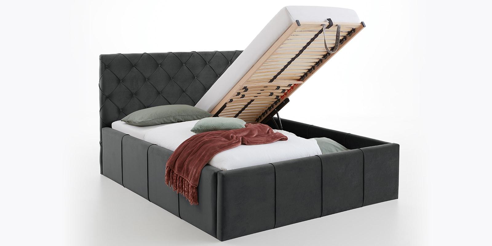 Moebella24 - Bett - mit - Bettkasten - Nelly - Samt - Anthrazit -XXL-Stauraum - Keder - Bettkasten-vormontiert - Kopfteil - mit - Knopfheftung